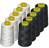 Lote 10 conos de hilo de poliester, especiales para máquinas de coser y...