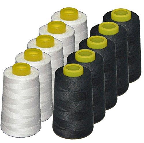 Lote 10 conos de hilo de poliester, especiales para máquinas de coser y remalladoras (5 blancos + 5 negros) muy buena calidad