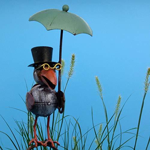 Pommerntraum ® | Regenmesser Niederschlagsmesser Pluviometer Rostoptik Prof. Dr. Rabe mit Regenschirm + Meisenknödelhalter - tolle Gartendeko