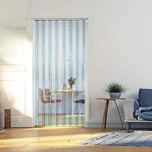 Zcyg Fliegenvorhang Tür,Fliegengitter Tür, Aluminium-Metallketten-Streifen Vorhang Tür Blinds Screen Control 90cmx214.5cm (blau Sliver)