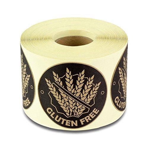 Gluten Free Label 2' Round Celiac Disease Warning Label Food Allergies (300 Labels per Roll / 1 Roll/Brown)