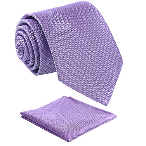 Fortunatever Mens Solid Neckties,Lavender Ties For Men With Pocket Square+Gift Box,58'×3.35'