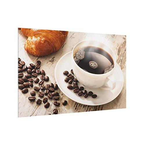 Bilderwelten Spritzschutz Glas Dampfende Kaffeetasse mit Kaffeebohnen - Quer 2:3, 40cm x 60cm