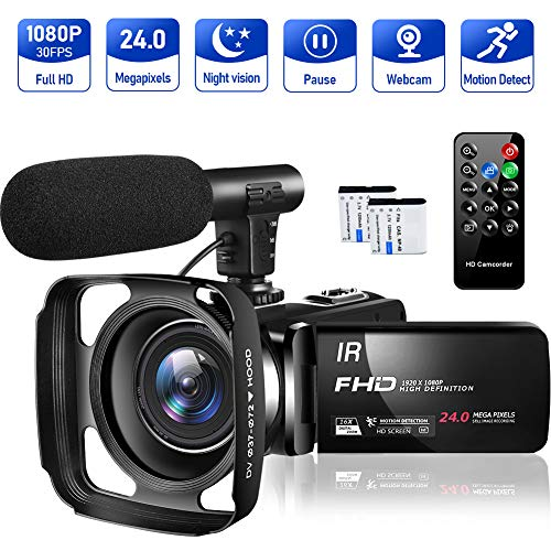 Video Camera Camcorder Full HD 1080P 30FPS 24MP Vlogging Camera for YouTube 16X Digital Zoom IR...