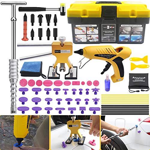 Anyyion Paintless Dent Repair Kits - 69pcs Car Body Paintless Dent Repair Tools -Auto Dent Puller Kit Automotive Door Ding Dent Silde Hammer Glue Puller Repair (Starter Set Kits)