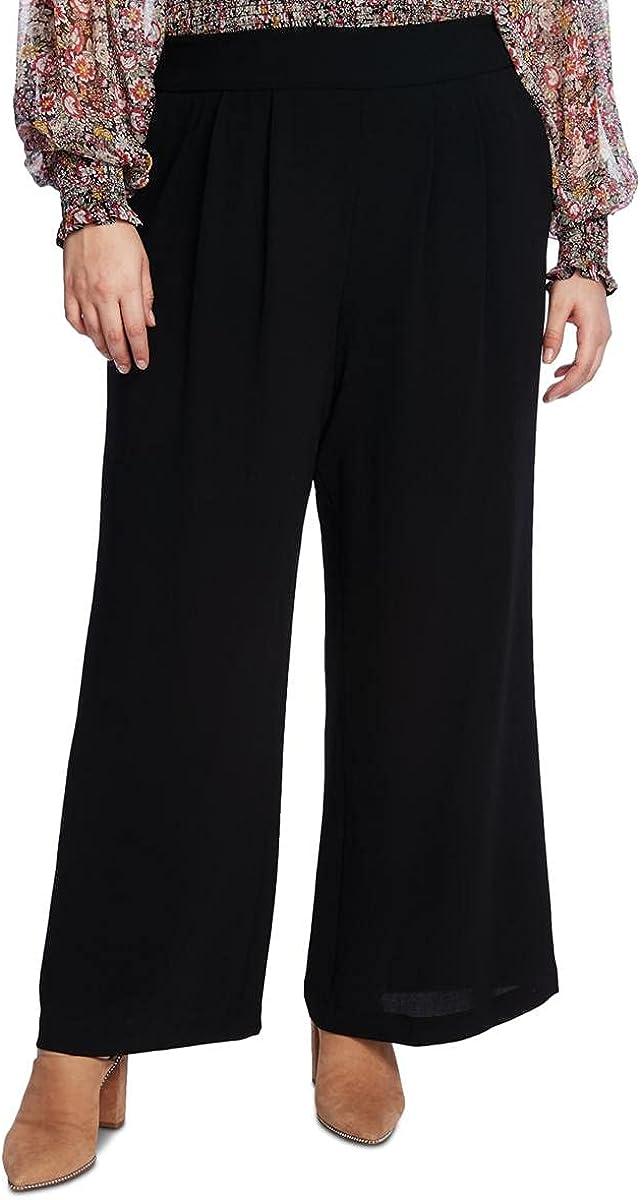 1.STATE Womens Plus Crepe Cropped Wide Leg Pants Black 2X