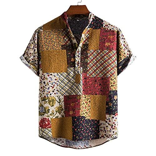 Hawaiana Camisa Hombre Verano Ligera Holgada Hombre Camiseta Casual Vacaciones Transpirable Playa Shirt Clásico Retro Estampado Secado Rápido Hombre Manga Corta D-04 XXL