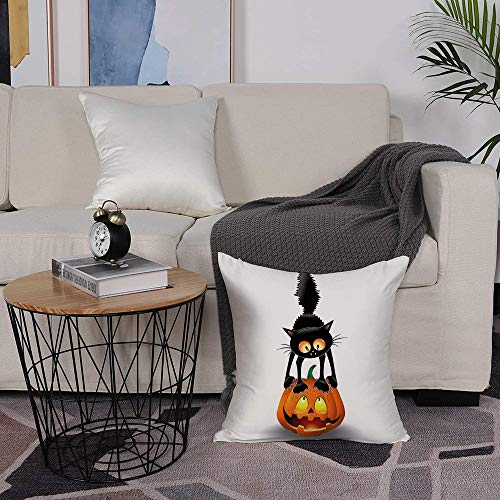 Microfiber cushion cover 50x50 cm,Halloween ations,Black Cat On Pumpkin Head Spooky Cartoon Characters Hal,Sofa Waist Chair Home Office Bar Car Decor Decorative Throw Pillowcase Protectors With Zipper