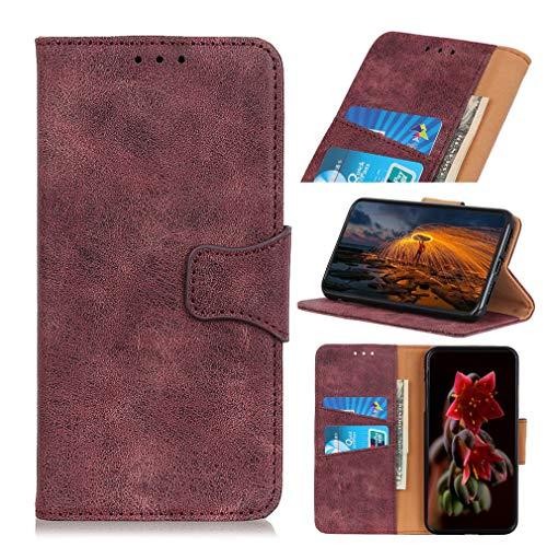 LMFULM® Hülle für LG G8X ThinQ / V50S ThinQ (6,4 Zoll) PU Leder Magnet Brieftasche Lederhülle Retro Geschäft Design Karten Slot Schutzhülle Tasche Handyhülle Lila