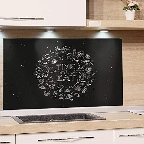 GRAZDesign Fliesenspiegel Küche Küchenspruch, Glasrückwand Küche Küchenmotiv, Rückwand Küche Schwarz, Küchenrückwand Glas Time to Eat / 60x60cm