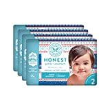 The Honest Company Baby Diapers with True Absorb Technology, Cozy Sweater, Size 2,(pack of 4, 32/pack),128 Count