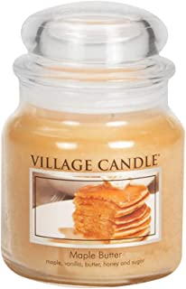 Village Candle Maple Butter 16 oz Glass Jar Scented Candle, Medium
