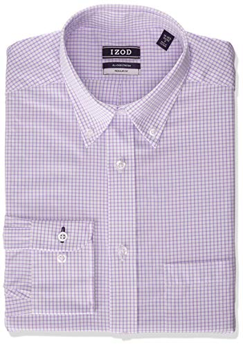 IZOD Men's Dress Shirt Regular Fit Stretch Button Down Collar Check, Lilac, 15'-15.5' Neck 32'-33' Sleeve (Medium)