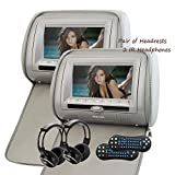 Eincar Upgraded 7 Inch HD 1080P Digital TFT 800*480 LCD Screen Pair of Car Headrests DVD Player...