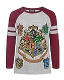 harry potter - hogwarts - maglietta con maniche raglan - ragazze (7-8 anni) (grigio)