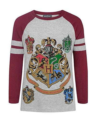 impresión impresionante que ofrece la cresta de Hogwarts y se casa con detalle tinta metálica camiseta de estilo raglán en contraste con las mangas rojas y corte estándar, el tamaño del Reino Unido 100% poliéster Con licencia oficial mercancía de Har...