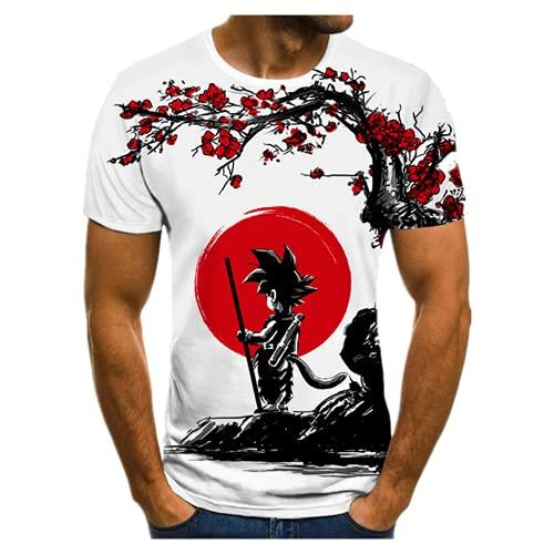 Camiseta de anime japonesa para hombre con cuello redondo