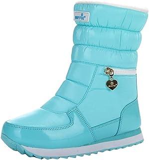 MaNMaNing Sneeuwlaarzen voor dames, platform, sneeuwlaarzen, waterdicht, met halve voering, warme kuitschoenen.
