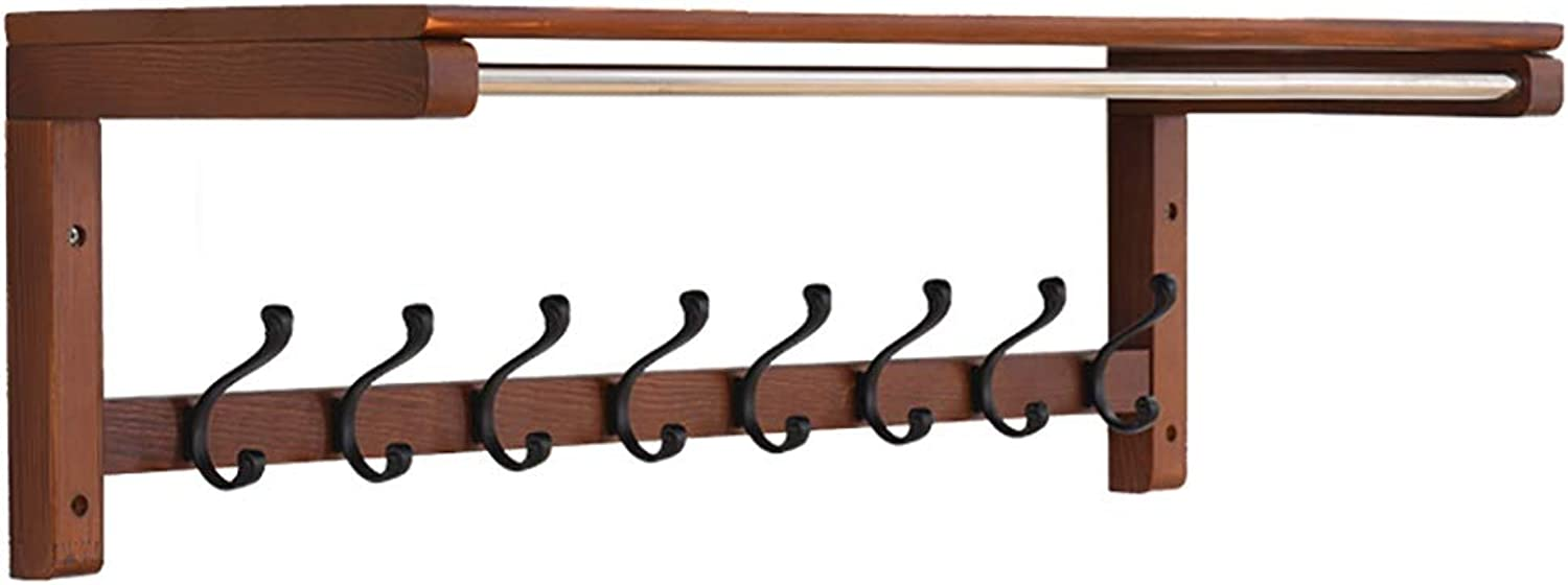 GuoWei Coat Rack Wall-Mounted Wood Shelf Metal Hooks Organizers Storage Entryway Bedroom Simple (color   Brown, Size   84.7x29.5x27.3cm)