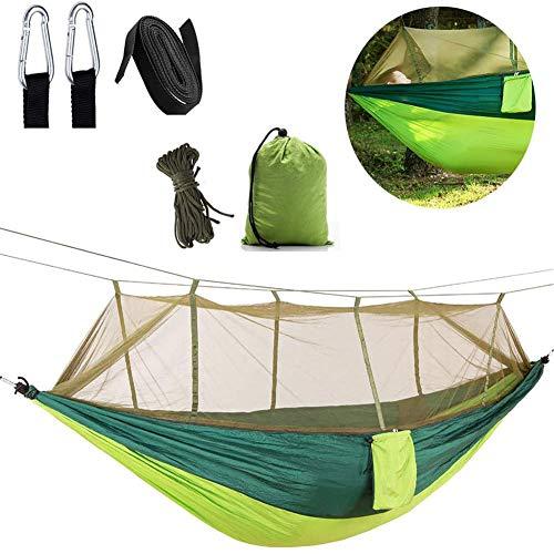 Campinghangmat met net, draagbare dubbele hangmat Lichtgewicht nylon parachute hangmatten voor kamperen Backpacken Wandelen Survival Reizen Achtertuin Strand