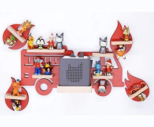 BOARTI Kinder Regal Feuerwehr Kollektion 5-teilig rot mit Feuerwehrauto und 4 Flammen geeignet für die Toniebox und ca. 40 Tonies - zum Spielen und Sammeln