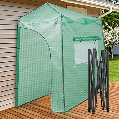 EAGLE PEAK 9'x4' Portable Walk-in Greenhouse Instant Pop-up Fast Setup Indoor Outdoor Plant Gardening Greenhouse Canopy, Front and Rear Roll-Up Zipper Entry Doors and Large Roll-Up Side Windows