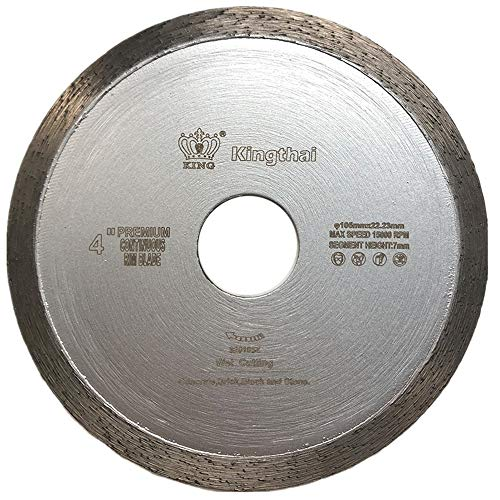 Kingthai 8 Inch Continuous Rim Diamond Saw Blade for Cutting Porcelain Tiles Ceramic,Wet Cutting,7/8'-5/8' Arbor
