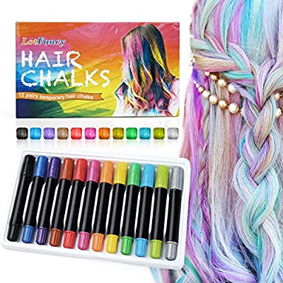 LotFancy 12Colors Temporary Hair Chalk Pens, Hair Chalk Pens, Hair Chalk Set for Girls, Washable Hair Color Dye Face Kit, Safe for Kids and Teens Makeup Party Birthday Cosplay New Year Party