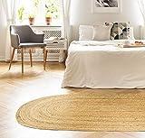 HAMID Jute Teppich Natur - Alhambra Oval Teppich 100% Naturfaser de Jute (90x150cm) - 3
