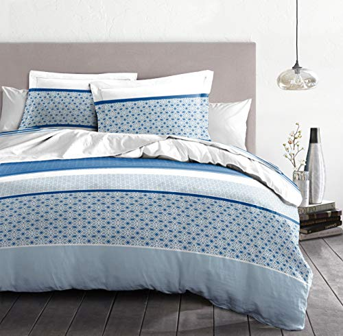 Home Passion   Funda nórdica – 3 Piezas   100% algodón – 57 Hilos   2 Personas – 220 x 240 cm   Bonus – Azul Claro