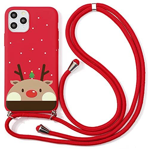 ZhuoFan Navidad Funda con Cuerda para iPhone 6 Plus / 6s Plus Funda [5.5'] Rojo Carcasa de Silicona Suave Case con Colgante Cordon Colgar Correa de Cuello Antichoque Bumper Cover para iPhone 6s Plus