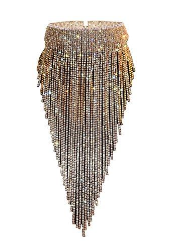 Qiaose Stunning Rhinestone Choker Necklace Women Statement Necklace Long Chain Necklace (Gold)