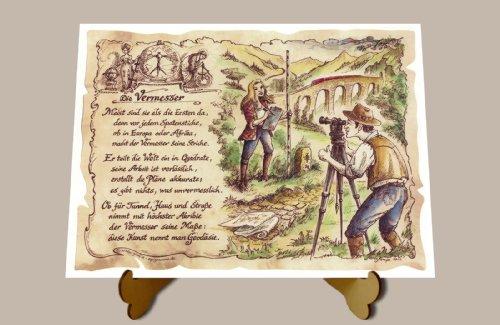 Geschenk Vermesser Geodäsie Gedicht Zeichnung Color 20 x 15 cm mit Aufsteller
