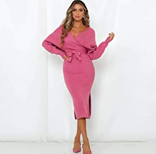 FOUR-C Women's Pullover Dress Vintage V Neck Casual Wrap Long Sleeve Elegant Bodycon Tie Waist Sweater Pencil Dresses