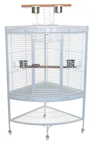 YML 3/4-Inch Bar Spacing with Wire Gauge 8 Corner Wrought Iron Cage for Small to Medium Parrots in White