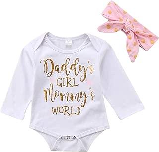 "Newborn Baby Girls Clothes Floral ""Daddy's Girl Mommy's World"" Bodysuit Romper +Headband"