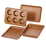 Ayesha Curry 47704 Nonstick Bakeware Toaster Oven Set with Nonstick Baking Pan, Cookie Sheet /...