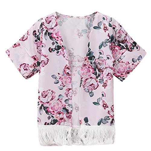 H.eternal - Kimono para bebé y niña, con Borla de Flor, Kimono, Chal, cárdigan antiUV, para Fiesta de cumpleaños o Playa