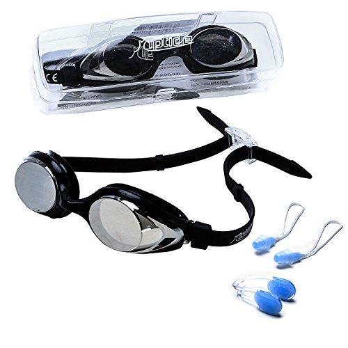 riptide Schwimmbrille - Taucherbrille in schwarz I mit Ohrenstöpsel und Nasenklammer I verspiegelt