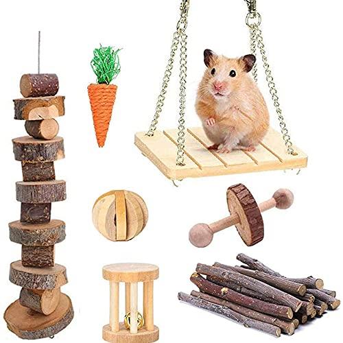Yoommd Juego de 7 juguetes para masticar para hámsters, ratas y hámsteres enanos, conejos naturales, cobayas, madera, práctica de campana, cuidado dental, juguete de dientes