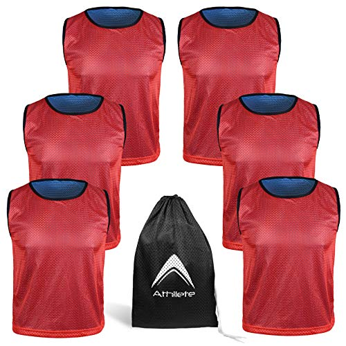 Reversible Mesh Pack of 6 Basketball Jerseys Lacrosse Top Tank Adult Teen Youth Kids Team Sports Scrimmage Vest Uniform (Red/Blue, XX-Large)