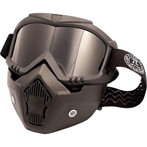 PiWear Motorradbrille Invase mit abnehmbarer Maske, schwarz mit dunklem Glas