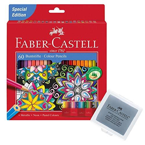 Faber-Castell 111260 - Buntstift Castle, 60er Kartonetui + Knetradierer (60 Stifte + Radierer)