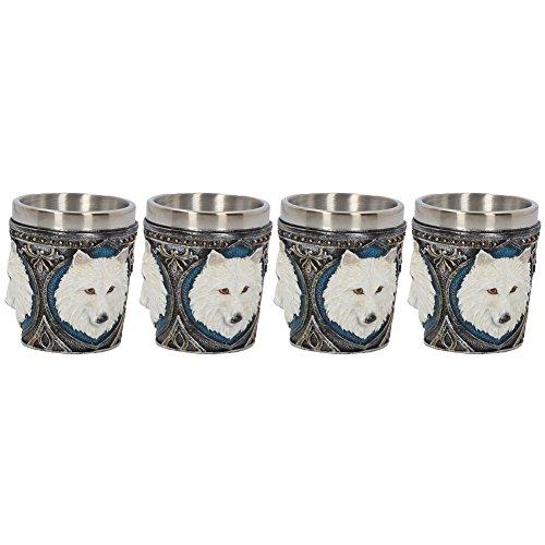 Nemesis Now U3884K8 Ghost Wolf - Juego de 4 vasos de chupito (8 cm, resina con inserto de acero inoxidable), color blanco