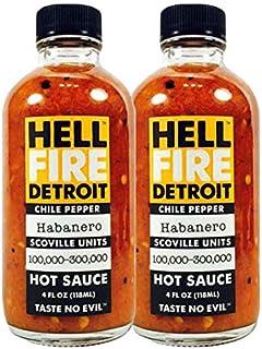 Hell Fire Detroit Hot Sauce Habanero, 4 fl oz - 2 Pack