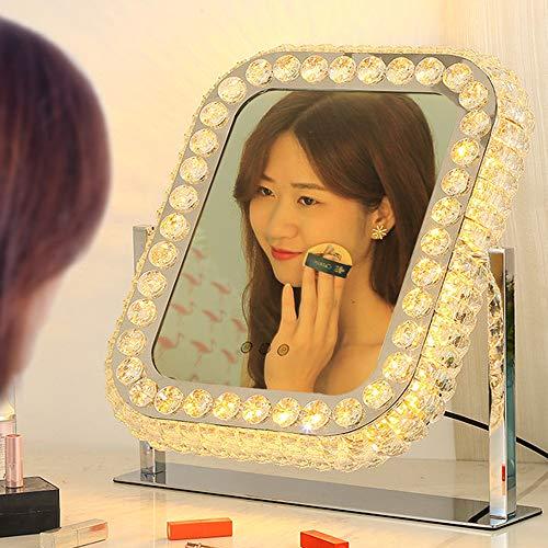 LED化粧鏡 クリスタルミラー デスクトップ フィルライト 明るさ調節可能 冷色 自然色 暖色 三色調光 360°回転 卓上女優ミラー 化粧ライト 化粧台 洗面台 浴室 ホテル 温泉用 (方形)