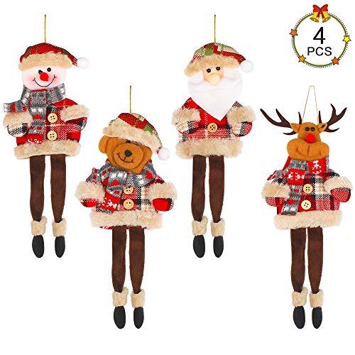 Aipaide 4 PCS Christmas Hanging Doll Christmas Santa Claus Snowman Elk Bear Long-legged Hanging Ornaments Christmas Tree Pendant Decorations for Windows Door Fireplace