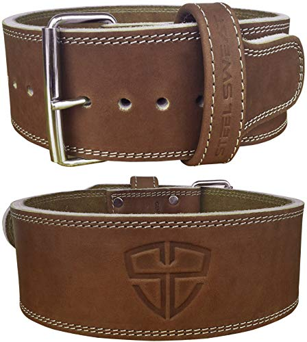 Steel Sweat Weight Lifting Belt - 4 Inches Wide by 10mm - Single Prong Powerlifting Belt That's Heavy Duty - Vegetable Tanned Leather - Hyde Brown Large