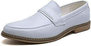 Men Pu Leather Shoes Casual Shoes Light, Soft, Tough, (Color : White, Size : 44)