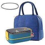 ALKAID Porta Pranzo. Lunch Box funzionante. può Essere riscaldato nel microonde. Scuola di Lavoro. 1600 ml bento Box. Borsa Pranzo